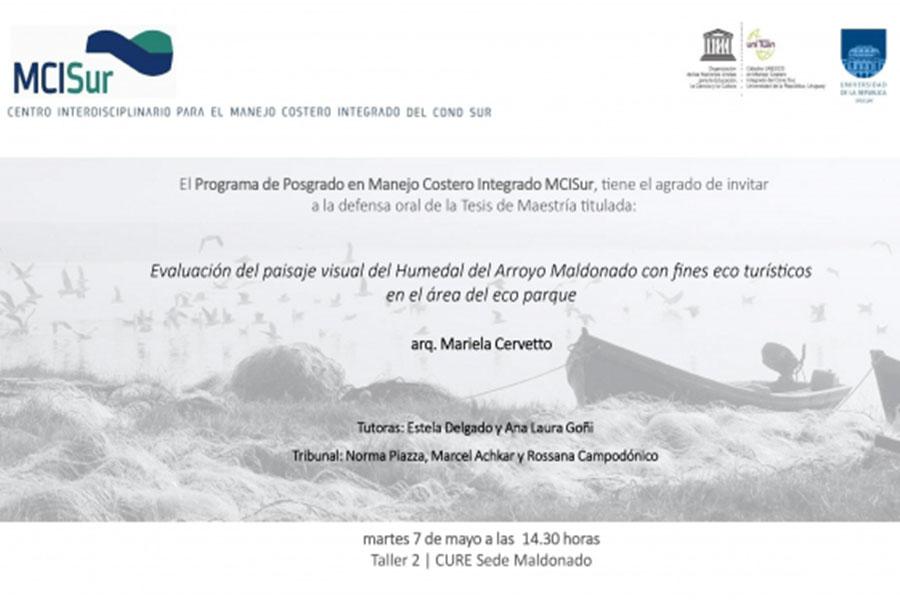 Defensa de la Tesis de Maestría «Evaluación del paisaje visual del humedal del Arroyo Maldonado con fines eco turísticos en el área del Eco Parque»