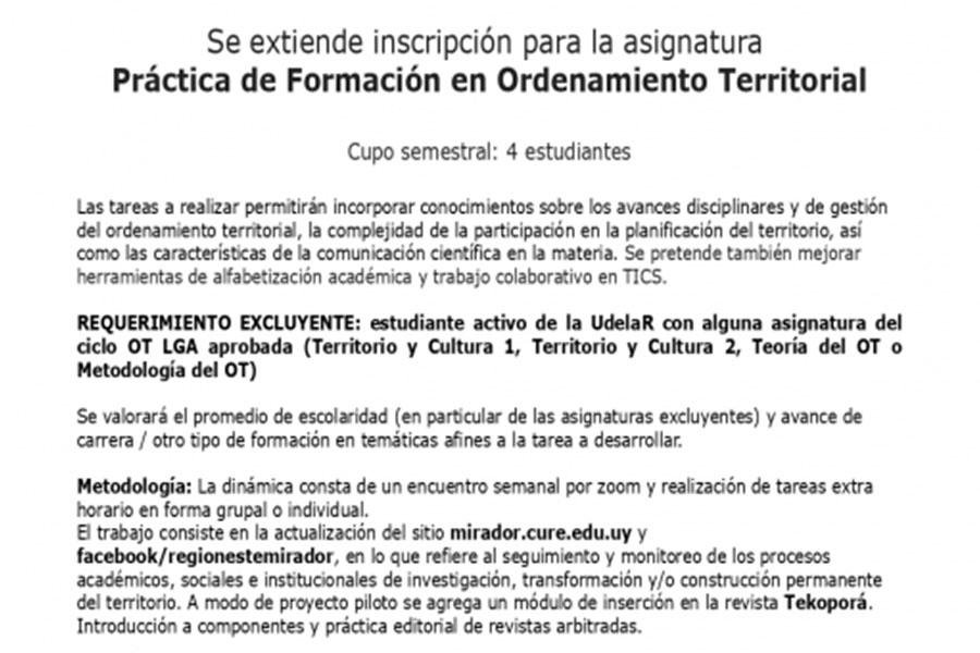 Convocatoria: Práctica de Formación en Ordenamiento Territorial